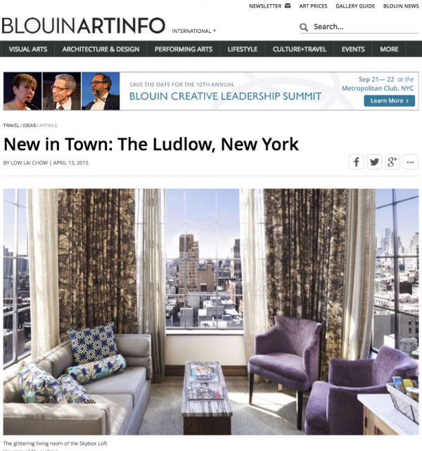 New in Town: The Ludlow, New York