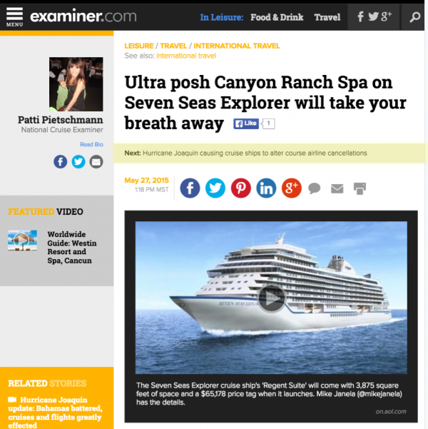 Ultra post Canyon Ranch Spa on Seven Seas Explorer will take your breath away