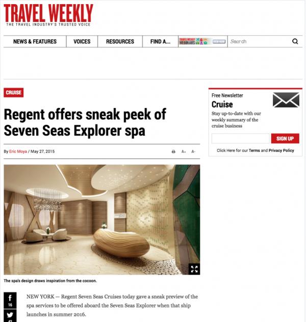 Regent offers sneak peek of Seven Seas Explorer spa