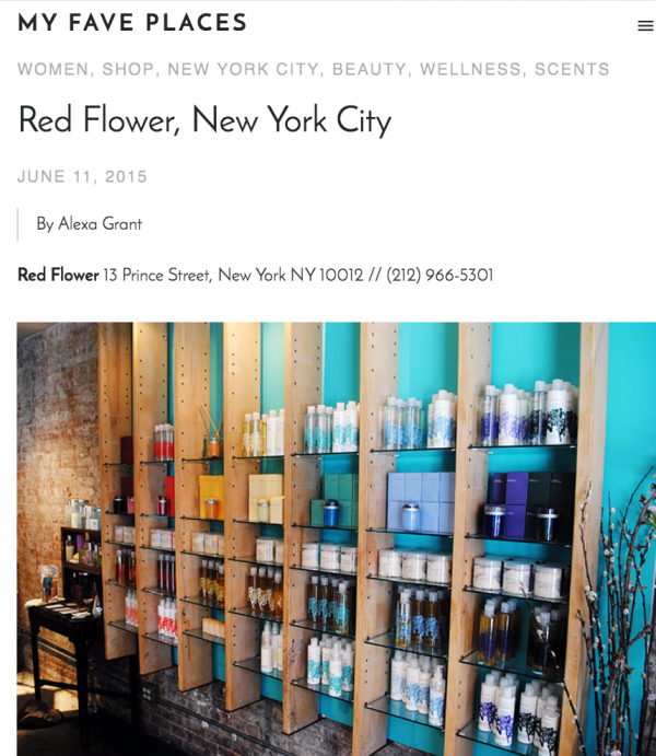 My FAVE PLACES: RED FLOWER, NEW YORK CITY