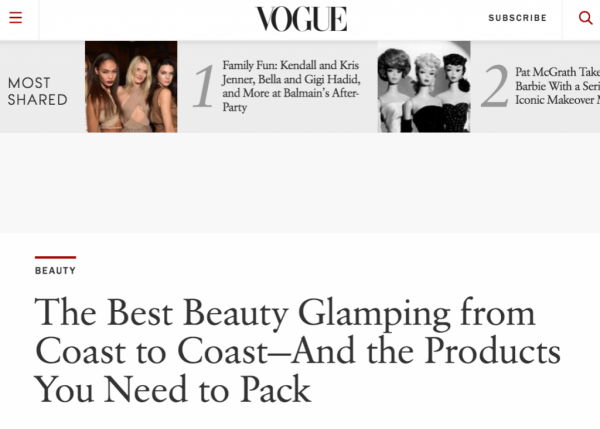 The Best Beauty Glamping from Coast to Coast- And the Product You Need to Pack