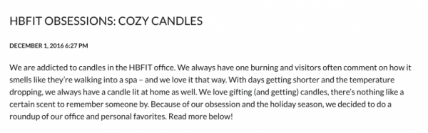 HBFIT OBSESSIONS: COZY CANDLES